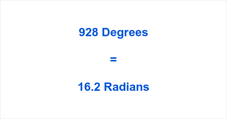 928 Degrees in Radians